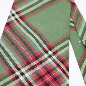 Lands End Plaid Hand Sewn Cotton Neck Tie